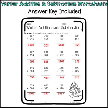 Winter Addition and Subtraction Worksheets