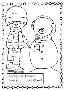 Winter Addition and Subtraction to 20 Coloring Pages
