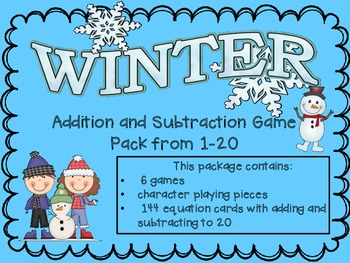 Winter Addition and Subtraction to 20 Game Pack
