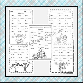 Winter Addition to 20 Fact Fluency Worksheets
