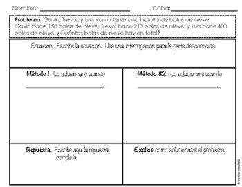 Winter Addition within 1000 word problems (Spanish Version)