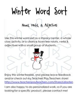 Winter Adjective, Noun, Verb Word Sort