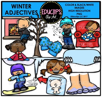 Winter Adjectives Clip Art Bundle {Educlips Clipart}