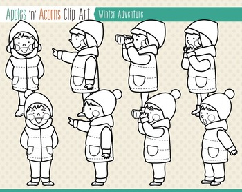 Winter Adventure Kids Clip Art - color and outlines