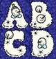 Winter Alphabet 26 Fluffy, Frosty Capital Clip Art Letters with Playful Snowman