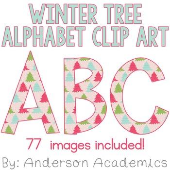 Winter Tree Alphabet Clip Art