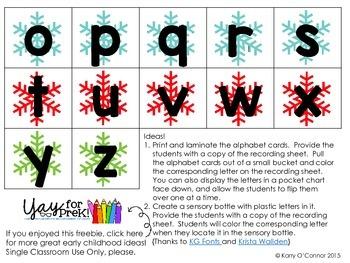 Winter Alphabet Fun for preschool, prek, and kindergarten FREEBIE
