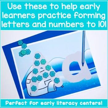 Alphabet and Number Playdough Mats - Winter Wonderland!