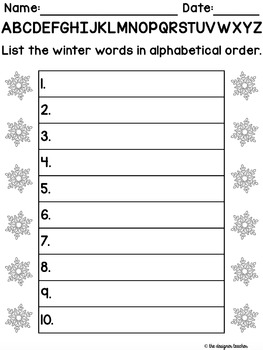 Winter Alphabetical Order Activity