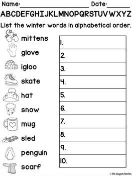 winter alphabetical order activity by the designer teacher tpt. Black Bedroom Furniture Sets. Home Design Ideas