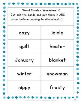 Winter Alphabetical Order: Grades 1-2