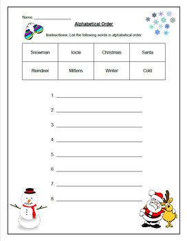 Winter Alphabetical Order Worksheet