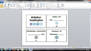 Winter Analogies - Common Core L.4.5 - Reading Task Cards