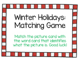 Winter And Holidays Match Game With Handwriting Practice