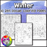 Winter Coloring Pages, Zen Doodles