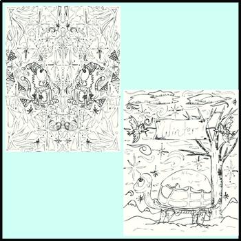 Winter Coloring Pages, Zen Doodles