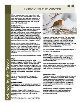 Winter Animal Survival:   Leveled Informational Text