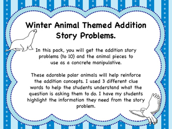 Winter Animal Themed Addition Story Problems With Manipulative's