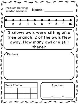 Winter Animals Addition & Subtraction Word Problems (Kindergarten/First)