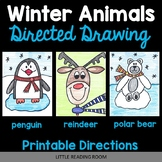 Reindeer, Polar Bear, Penguin Directed Drawing