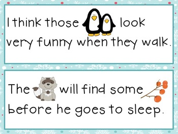 Sight Word Sentence Strips: Winter Animals Set
