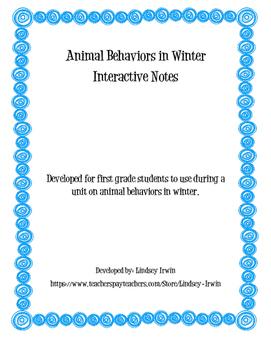 Winter Animals Interactive Notes