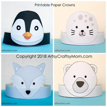 Winter Animals Printable Paper Crowns - Color + Black & white version