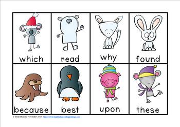 Winter Animals Sight Word Race