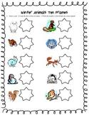 Winter Animals Ten Frame Math Center