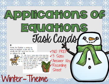 Winter Applications of Equations Task Cards