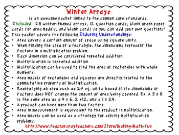 Winter Arrays - Holiday Activities for the Common Core