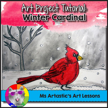 Winter Art Lesson, Cardinal in the Snow