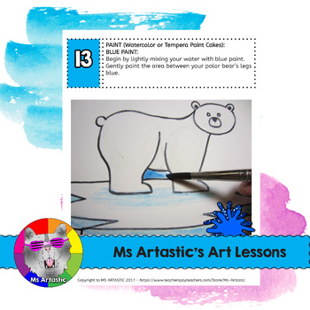 Winter Art Lesson, Polar Bear Art Project