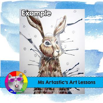 Winter Art Lesson, Rabbit in the Snow