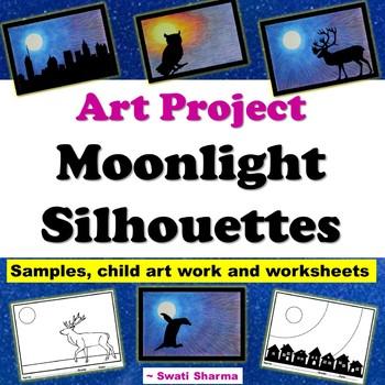 Winter Art Project Moonlight Silhouettes