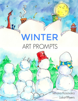 Winter Art Prompts EBook: 12 Printable Pictures to Finish