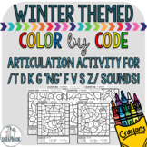 Winter Articulation Activity- Color by Code- /t d k g ng f