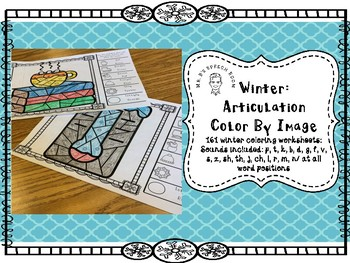 Winter Articulation Color By Image: All Sounds, All Word Positions