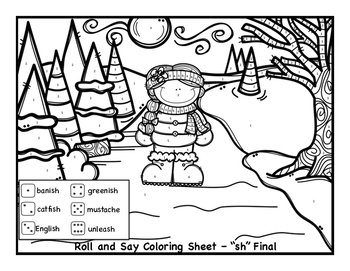 "Winter Articulation Coloring for ""sh"" and ""ch"""