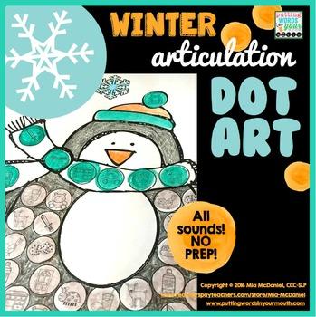 Articulation Dot Art for Winter {all sounds & NO prep!}
