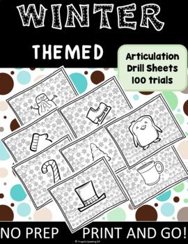 Winter Articulation Drill Sheets 100 trials