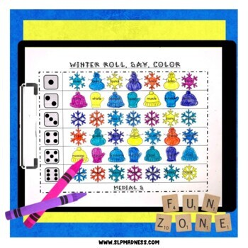 Winter NO PREP Articulation Roll Say Color - Sound Practice Speech Therapy