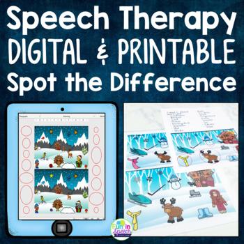 Interactive Winter Articulation Activity for Speech Therapy- Spot the Difference