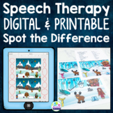 Winter Articulation Activities with Spot the Difference for Speech Therapy