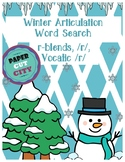 Winter Articulation Word Search /r/, r-blends, vocalic r