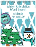 Winter Articulation Word Search /s/, /z/, and S-Blends