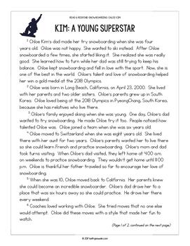 Winter Athletes Paired Texts: Chloe Kim and Shaun White (Grades 3-4)