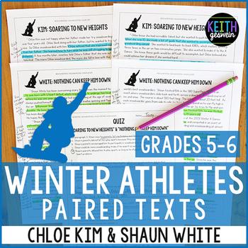 Winter Athletes Paired Texts: Chloe Kim and Shaun White (Grades 5-6)