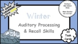 Winter Auditory Processing Memory & Recall Skills (20 Task Cards, Board Game)