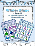 Winter BINGO: for sentence expansion and following directions